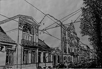 Federzeichnung, Weiß, Architektur, Alte häuser