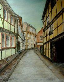 Mittelalter, Haus, Architektur, Acrylmalerei