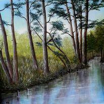 Wiese, Blau, Baum, Natur