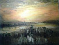 Abstrakt, Pastellmalerei, Stadt, Acrylmalerei