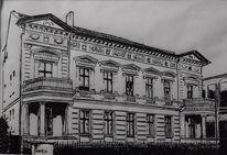 Schwarz weiß, Zeichnung, Alte häuser, Haus