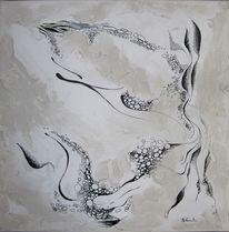 Schwarz weiß, Malerei, Grau, Acrylmalerei