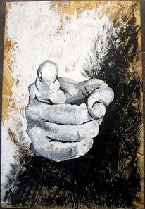 Hand, Schwarz weiß, Faust, Acrylmalerei