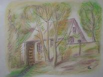 Tusche, Pastellmalerei, Zeichnung, Mischtechnik