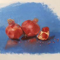 Gegenständlich, Stillleben, Granatapfel, Ölmalerei