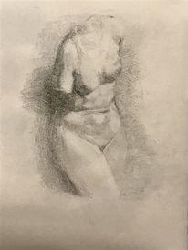 Profil, Haut, Frau, Zeichnung