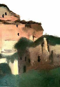 Ölmalerei, Haus, Schatten, Idylle