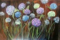 Groß, Blumen, Hortensien, Malerei