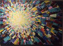 Abstrakt, Sonne, Farbenexplosion, Malerei
