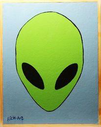 Alien, Kopf, Prototyp, Mischtechnik