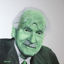 Carl gustav jung, Portrait, Acrylmalerei, Malerei