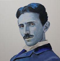 Blau, Portrait, Tesla, Malerei