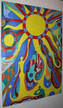 Sonne, Strahlen, Farben, Frau