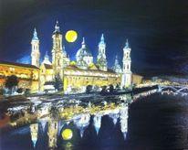 Basilika, Nacht, Malerei, Ölmalerei
