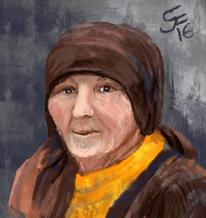 Bäuerin, Alte frau, Kopftuch, Malerei