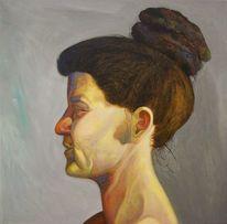 Menschen, Portrait, Acrylmalerei, Dutt