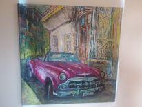 Pink, Oldtimer, 100x 100 cm, Acrylmalerei