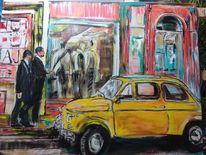 Fiat, Stadt, Schaufenster, 2 männer bummeln