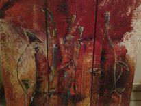 Spachteltechnik, Abstrakt, Acrylmalerei, Flasche