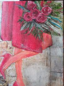 Rot, Mantel, Ausschnitt, Rose
