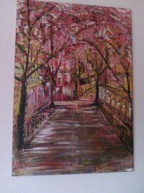 Stadt, Acrylmalerei, Baum, Spachteltechnik