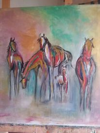 Acrylmalerei, Bunt, Malen, Pferde