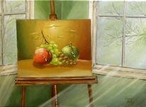 Apfel, Wein, Licht, Malerei