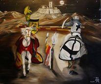 Malerei, Ölmalerei, Ritter spiele, Landschaft