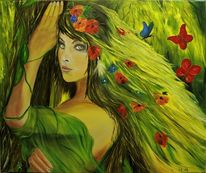 Frau, Portrait, Landschaft, Ölmalerei