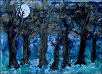 Baum, Wald, Mond, Mischtechnik