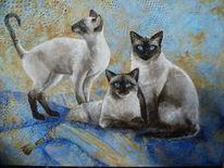 Katze, Ölmalerei, Gemälde, Malerei