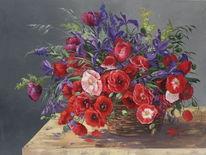 Ölmalerei, Klatschmohn, Blumen, Wanddekoration
