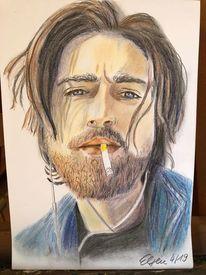 Portrait, Buntstiftzeichnung, Mann, Bart
