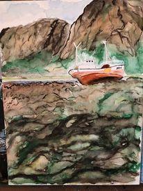 Fjord, Schiff, Boot, Stranden