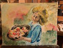 Herbst, Ernte, Aquarellmalerei, Apfel