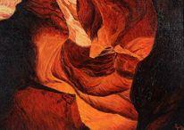 Leinen, Schlucht, Ölmalerei, Rot