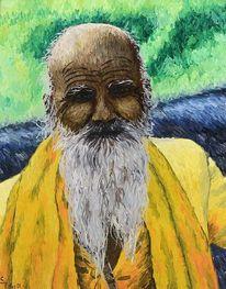 Bart, Ölmalerei, Indien, Portrait