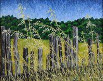 Gras, Ölmalerei, Zaun, Leinen
