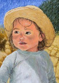 Portrait, Mädchen, Ölmalerei, Leinen