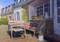 Tisch, Stuhl, Frankreich, Bank