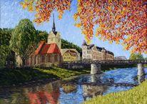 Leinen, Brücke, Gera, Ölmalerei