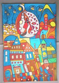 Fantasie, Abstrakt, Häuser, Bunt
