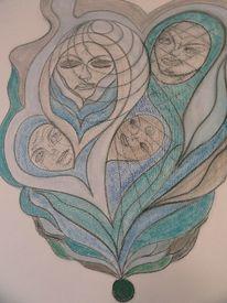 Malerei, Blau, Grün