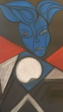 Malerei, Blau, Rot