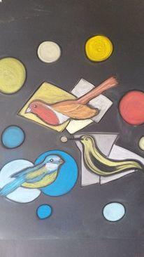 Bunt, Abstrakt, Vogel, Malerei