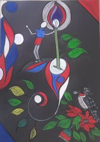 Bunt, Figur, Vogel, Blumen