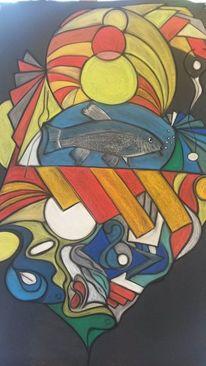 Abstrakt, Bunt, Rund, Fisch