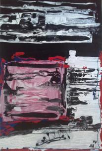 Weiß, Hartpappe, Abstrakt, Acrylmalerei