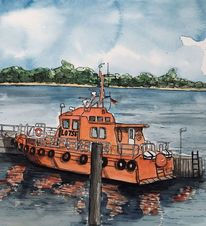 Travemünde, Hafen, Lotsenboot, Aquarellmalerei