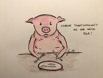 Tisch, Trostlosigkeit, Schwein, Ei